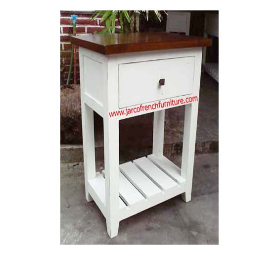Single Console White Distressed