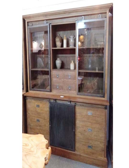 Lawyer Cabinet 2 Section with Metal Glass Doors