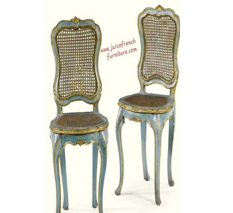 Louis Dining Chair Smooth Blue Distressed