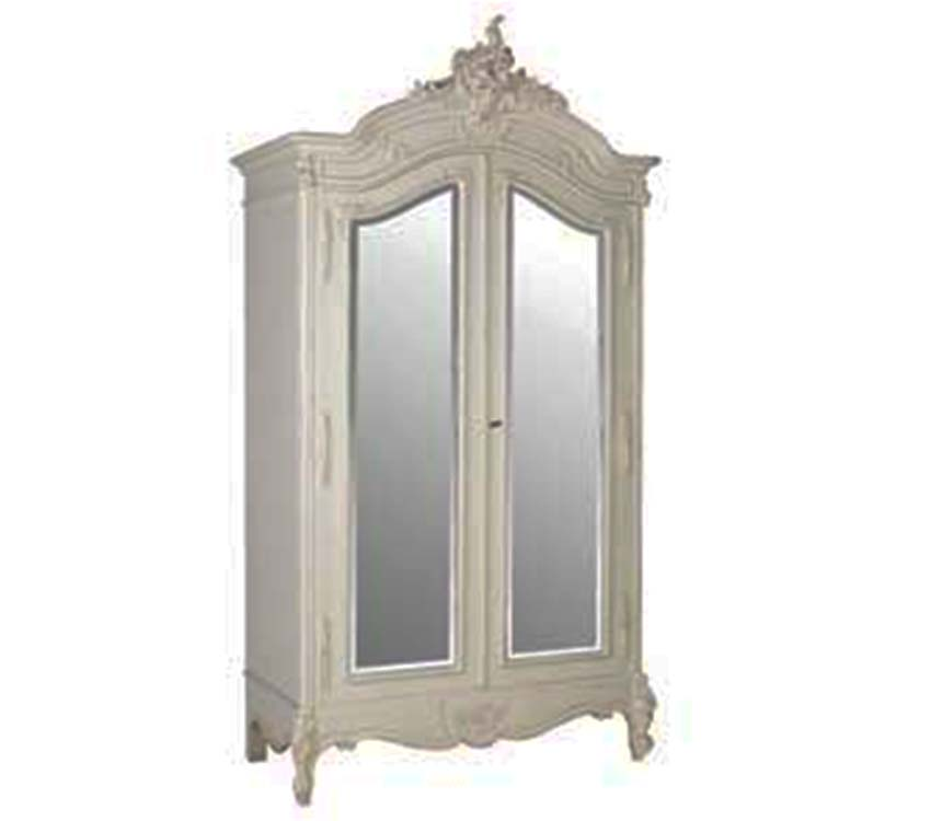 Chateau Armoire 2 Mirror Doors white Distressed