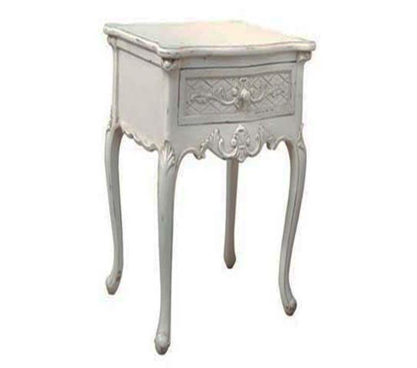 Chateau Lamp Table White Distressed