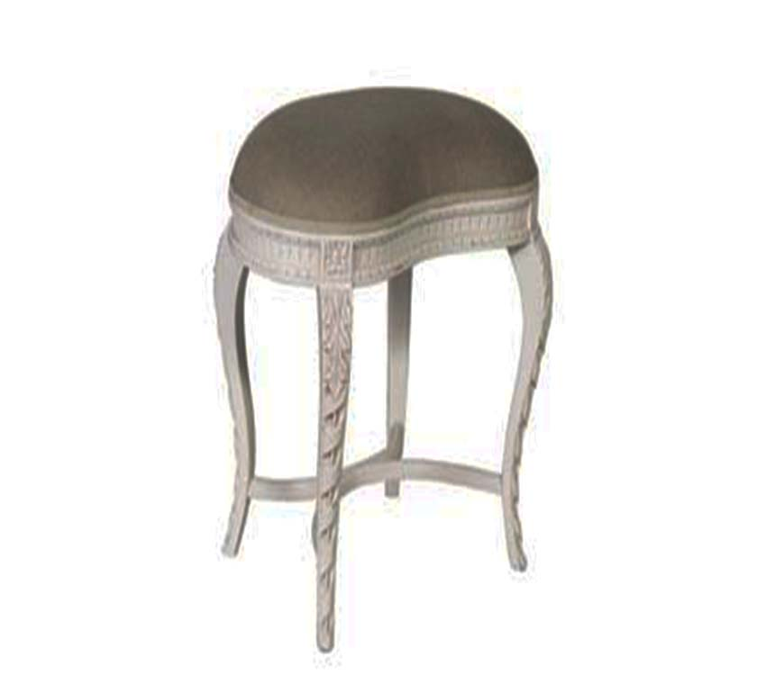 Chateau Carving Stool White Distressed