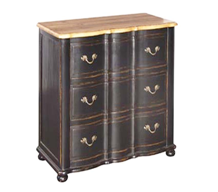 French Chest 6 Drawers Black Distressed