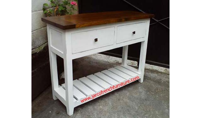 Console 2 Drawers White Distressed