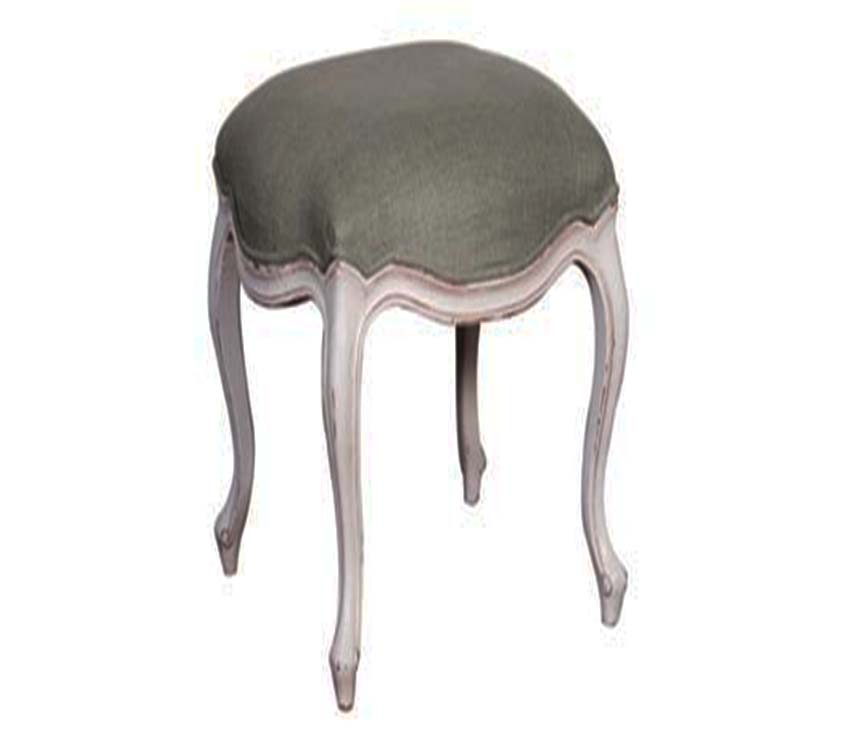 Chateau Linen Stool White Distressed