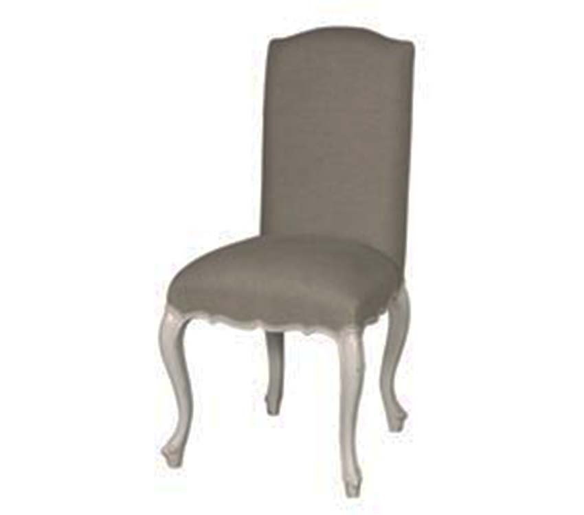 Linen Dining Chair White Distressed