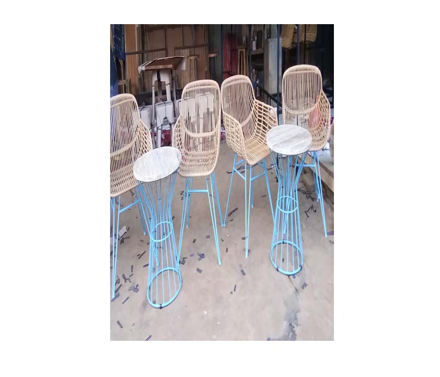 Net Rattan Chair with Iron Base