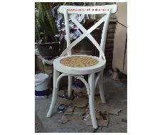 Cross Chairs White Distressed