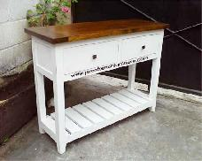 Console Table 2 Drawers with White Distressed Finished