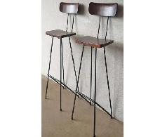 Wooden Bar Chair with Iron Base