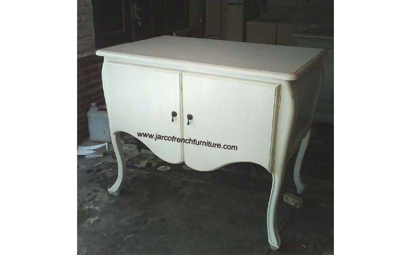 Commode 2 Doors Cabinet with White Distressed Finished
